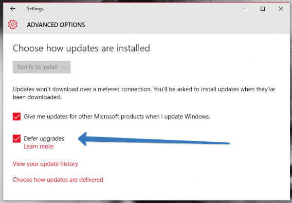 Defer Windows Update