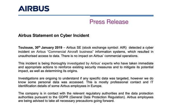 Airbus statement