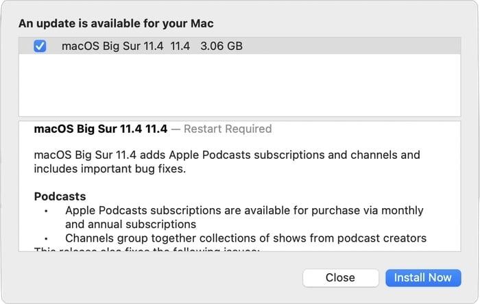 macOS Big Sur 11.4 update