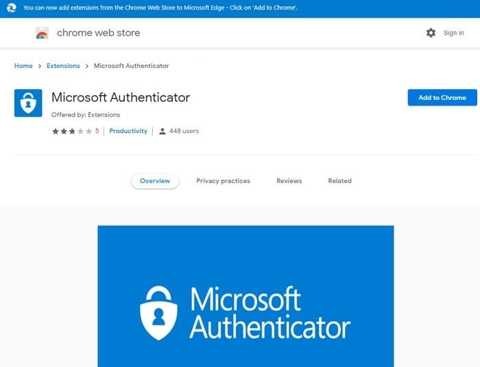Fake Microsoft Authenticator extension