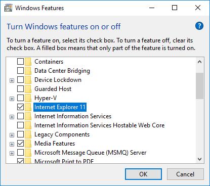 Uninstall IE11 in Windows 10